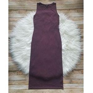 Topshop Sleeveless Burgundy Midi Dress Size 6